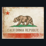 "Postcard with Cool California Flag<br><div class=""desc"">Postcard with distressed vintage flag from California Republic. We change and add both text and colors,  as well as size and placement,  all upon request. Contact us with your unique needs and we do the rest!</div>"