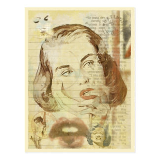 Postcard with Cool Vintage Style Pop-Art Girl