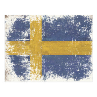 Postcard with Dirty Vintage Flag from Sweden