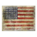Postcard with Dirty Vintage Flag from USA