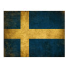 Postcard with Dirty Vintage Swedish Flag