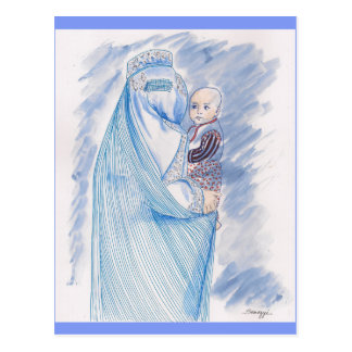 Postcard with Drawing of Woman in Burka