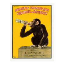 Postcard with Drinking Monkey Poster