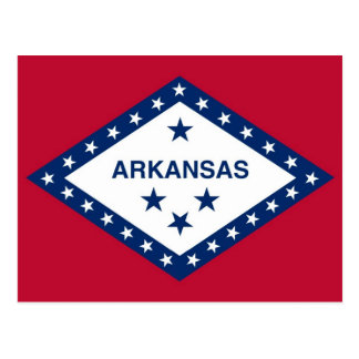 Postcard with Flag of Arkansas State - USA