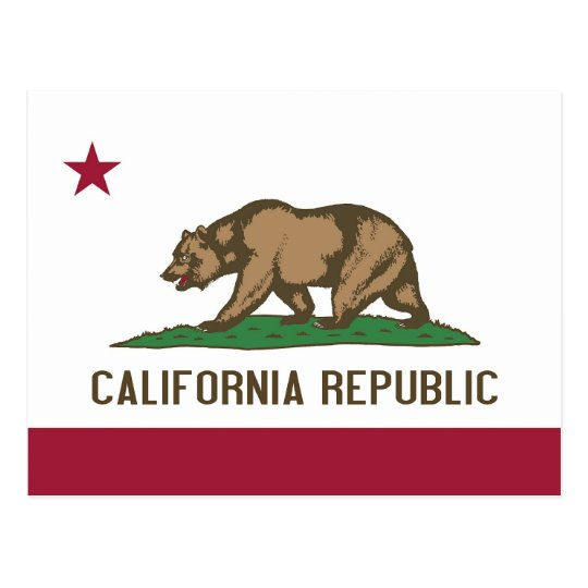 Postcard with Flag of California State - USA