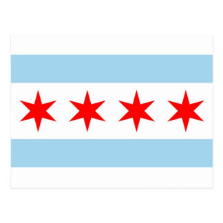 Postcard with Flag of Chicago, Illinois State, USA