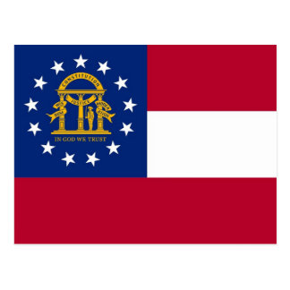 Postcard with Flag of Georgia State - USA