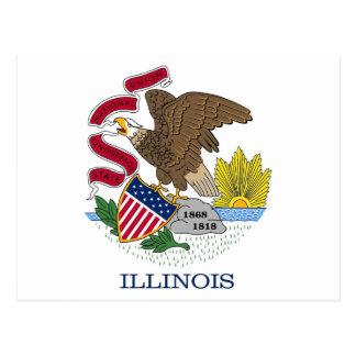 Postcard with Flag of Illinois State - USA