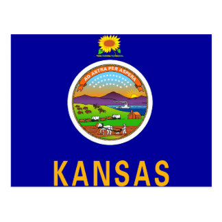 Postcard with Flag of Kansas State - USA