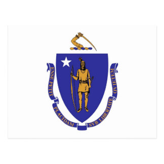 Postcard with Flag of Massachusetts State - USA