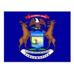 Postcard with Flag of Michigan State - USA