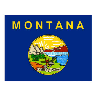 Postcard with Flag of Montana State - USA
