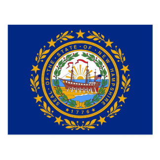 Postcard with Flag of  New Hampshire State - USA