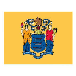 Postcard with Flag of New Jersey State - USA