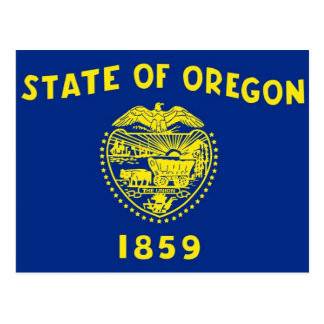 Postcard with Flag of Oregon State - USA