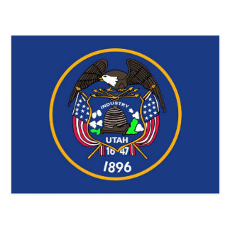 Postcard with Flag of Utah State - USA
