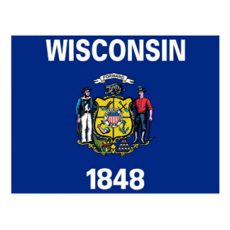 Postcard with Flag of Wisconsin State - USA