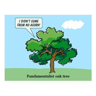 Postcard with Fundamentalist Oak Tree Cartoon