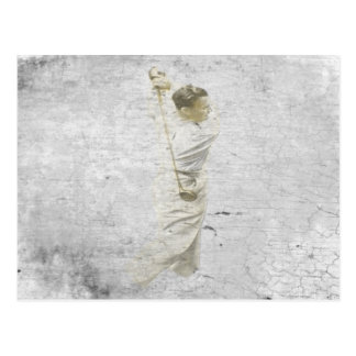 Postcard with Golden Golfer Charcoal Drawing