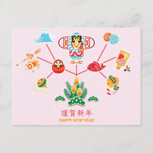 Japanese new years cards zazzle postcard with japanese new year symbols as wish m4hsunfo