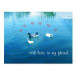 Postcard with landscape ducks