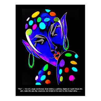 Postcard with original art -- Colorful Fairy/Elf