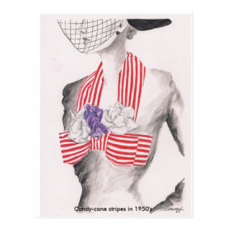 Postcard with original art of 1950's fashion