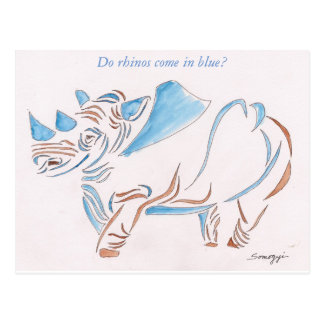 Postcard with original art of stylized rhino