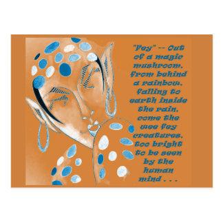 Postcard with original art -- Orange Elf w/ Text
