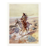 Postcard With Painting Of Native American