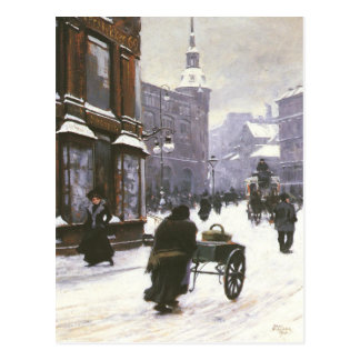Postcard With Paul Gustave Fischer Painting