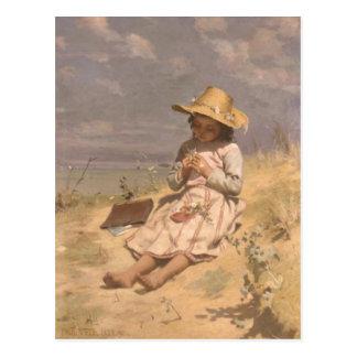 Postcard With Paul Peel Painting
