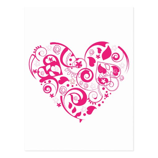 Postcard with red decorative heart