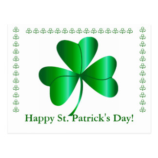 Postcard with Shamrock, St. Patrick's Day Greeting