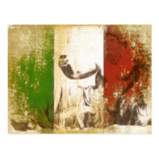 Postcard with Statue on Vintage Italian Flag