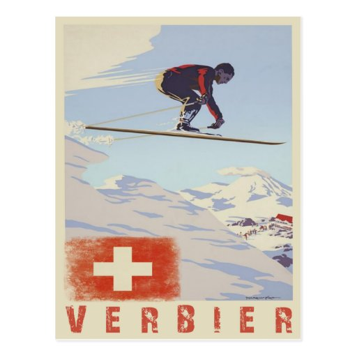 Postcard with Switzerland Vintage Ski Print
