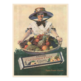 Postcard with Vintage California Fruit Lady