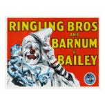 Postcard with Vintage Circus Clown Print