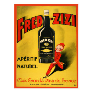 Postcard with Vintage French Wine Poster