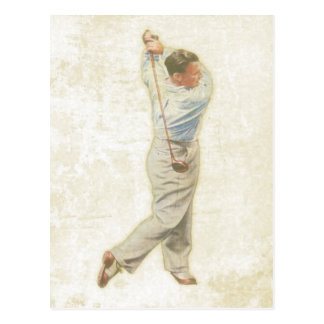 Postcard with Vintage Golf Player