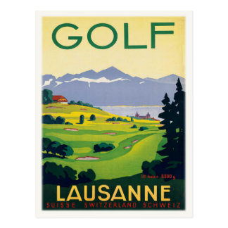 Postcard With Vintage Golf Poster Print