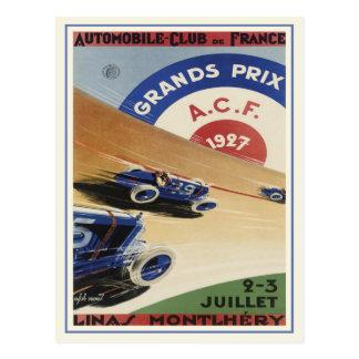 Postcard With Vintage Grand Prix Ad Poster Print