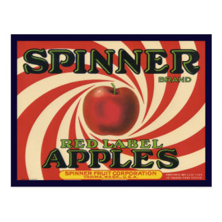 Postcard with Vintage Label Print for Apples