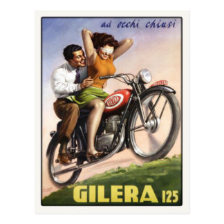 Postcard with Vintage Moto Poster Print