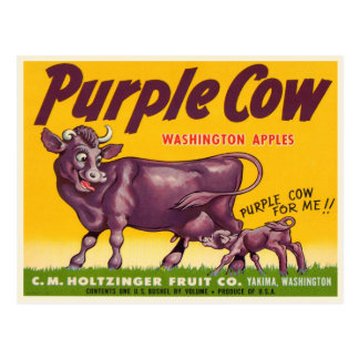 Postcard with Vintage Purple Cow Apples Print