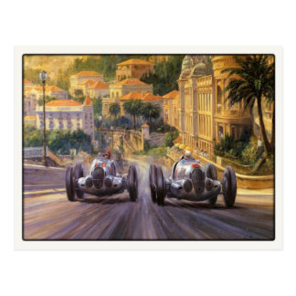 Postcard With Vintage Racing Cars Competing