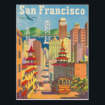 "Postcard with Vintage San Francisco Poster<br><div class=""desc"">Postcard with vintage poster print from San Francisco advertising the best Californian destination. Please, let us know if you want some changes made that would please you. We are happy to help out if you need any changes to the layout such as colors, tone, size or any other additions such...</div>"