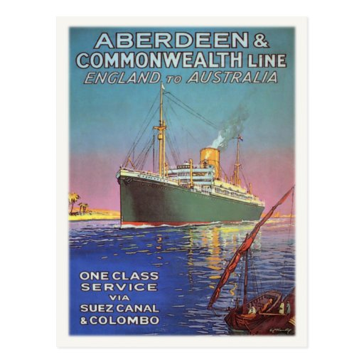 Postcard with Vintage Shipping Line Print