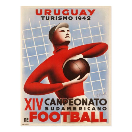 Postcard with Vintage Soccer Print from Uruguay