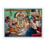 Postcard with Vintage Thanksgiving Meal